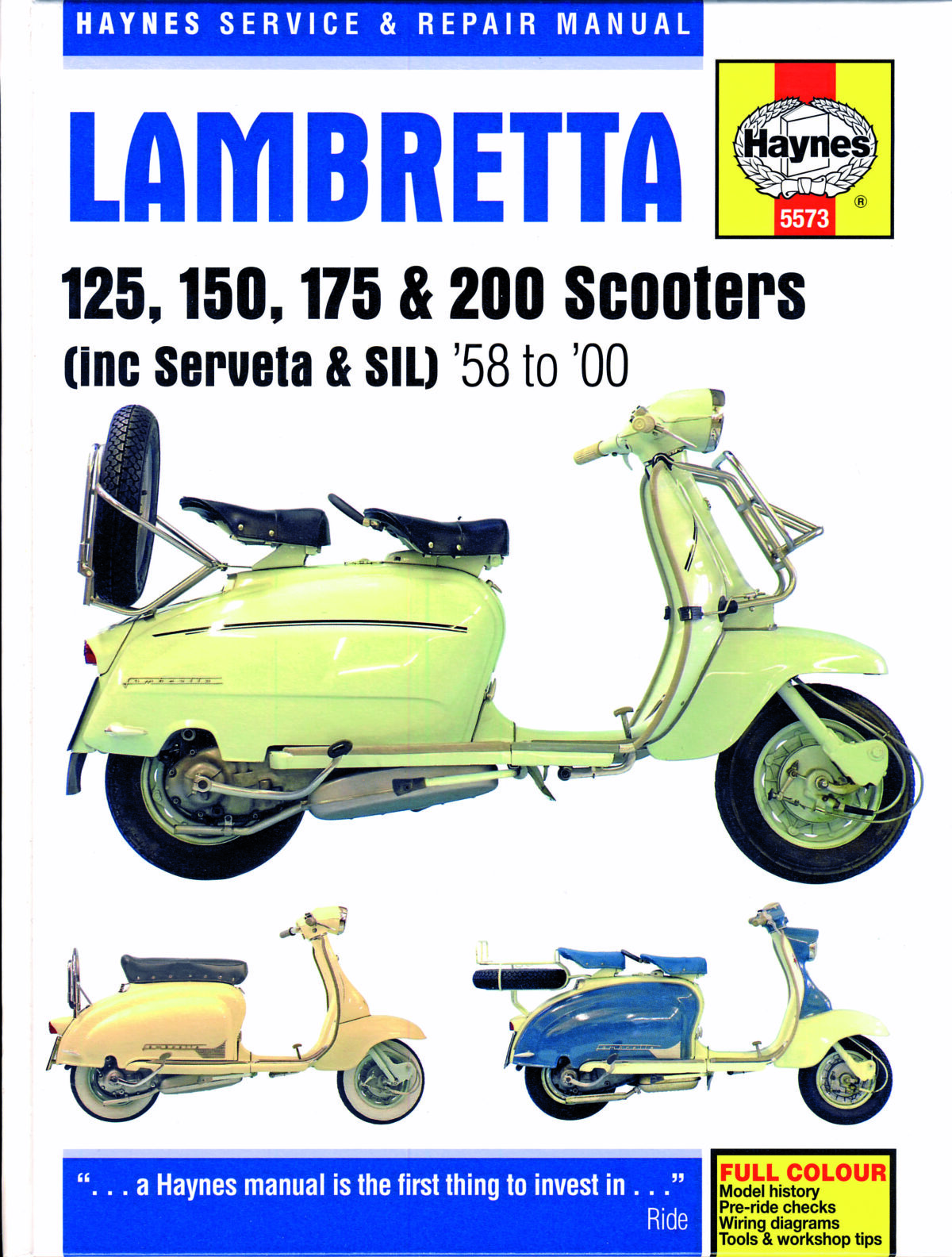 Haynes Service And Repair Manual For Lambretta Scooters Scootering Wiring Diagram Vespa Px 125 009 Cover