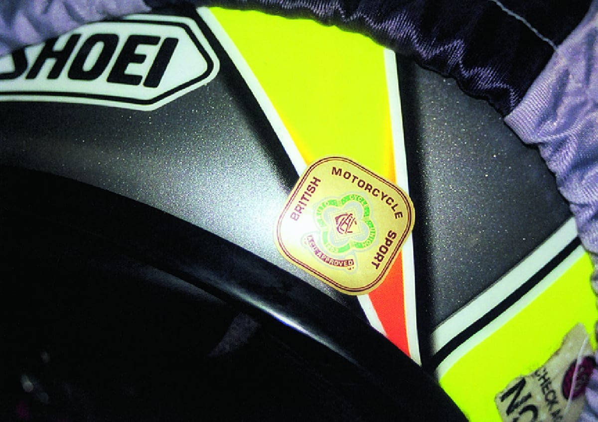 The ACU Gold sticker means this helmet is of high enough standard to go racing in.